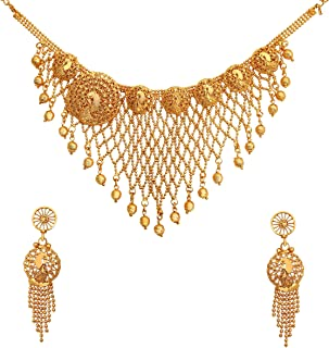 Classic Kundan Gold Plated Jewellery Necklace Set With One Pair of Earrings For Women And Girl