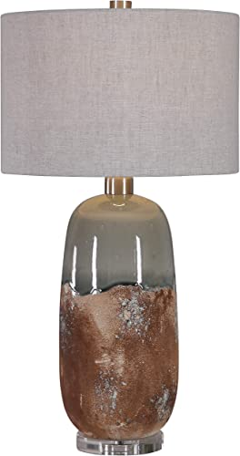 high quality Uttermost 26381-1 Maggie Contemporary Terracotta Rust and Green online sale Gray Ceramic wholesale Table Lamp online
