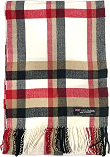 100% Cashmere Scarf Made in Scotland Wool Buffalo Tartan Windowpane Check Plaid