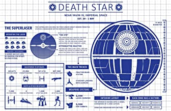 Inked and Screened Death Star Infographic Screen Print, 11 x 17, White Grid