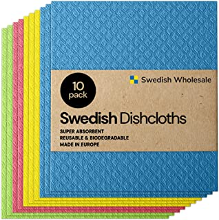 Swedish Wholesale Swedish Dish Cloths - Pack of 10, Reusable, Absorbent Hand Towels for Kitchen, Bathroom and Cleaning Cou...