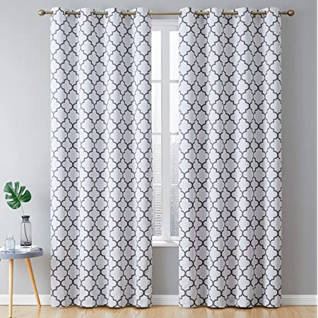 HLC.ME Lattice Print Decorative Blackout Thermal Insulated Privacy Room Darkening Grommet Window Drapes Curtain Panels for Bedroom - Platinum White & Grey - Set of 2-52 x 72 Inch Length