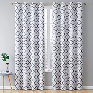 HLC.ME Lattice Print Thermal Insulated Room Darkening Blackout Grommet Window Curtains for Bedroom - Platinum White & Grey - 52