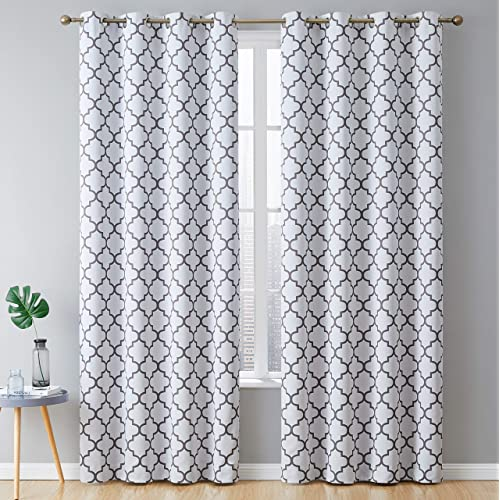 """HLC.ME Lattice Print Thermal Insulated Room Darkening Blackout Grommet Window Curtains for Bedroom - Platinum White & Grey - 52"""" W x 84"""" L - Pair"""