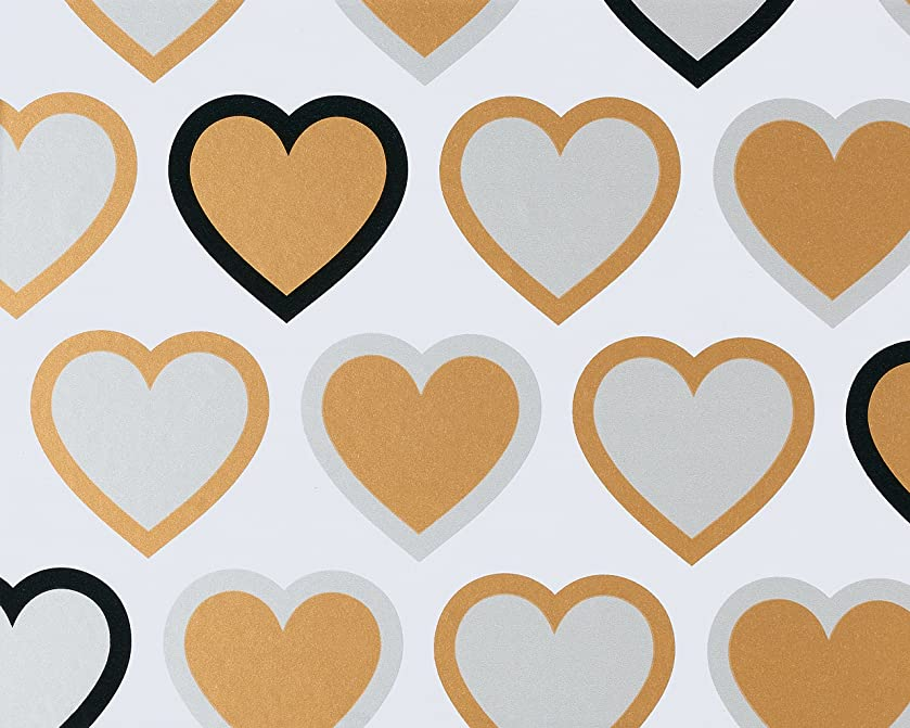 American Greetings Wedding Wrapping Paper, Gold & Silver Hearts, 2.5 ft. x 3.33 ft.