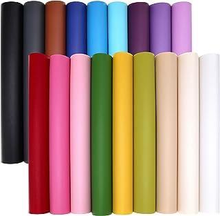 """ZAIONE 18pcs/Set 8"""" x 12"""" (20cm x 30cm) Multicolor Soild Colors Faux Leather Sheets Colorful Leatherette Bundle Pack Synth..."""