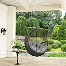 Modway EEI-2654-GRY-GRY Hide Wicker Rattan Outdoor Patio Balcony Porch Lounge Egg Swing Chair Set with Hanging Steel Chain Gray Gray