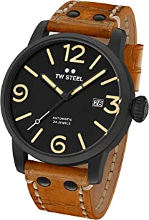 TW Steel Men's 'Maverick' Automatic Stainless and Leather Casual Watch, Color:Brown (Model: MS36)