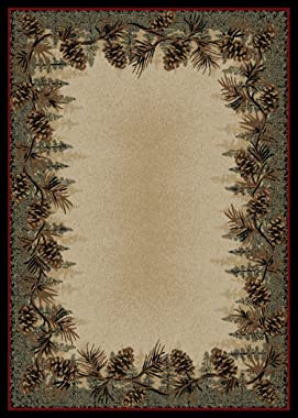 Rustic Lodge Pine Cone Border Brown 8x10 Area Rug, 7'10x9'10