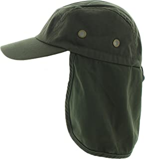 JFH 4 Panel Adjustable Outdoors Fishing Box Cap with Ear Neck Flap Sun Cover (F001 Olive)
