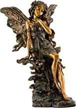 Top Collection Outdoor Garden Fairy Statue - Hand Painted Magical Flower Fairy Sculpture Sitting on Tree Stump in Premium Cold Cast Bronze - Large 15.75-Inch Collectible Isabelle Pixie Figurine
