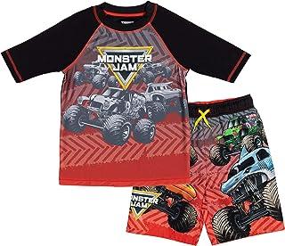 Monster Jam Trucks Little Boys Swim Rash Guard Swim Trunks Set Black/Red 5