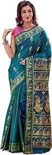 SareesofBengal Women's Katan Silk Meenakari Baluchari/Swarnachari Saree Green Blue Bicoloured