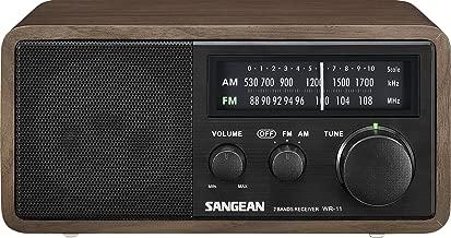 Sangean WR-11BK Wood Cabinet AM/FM Table Top AM/FM Radio + Aux, Headphone Jack (Limited Edition Color)
