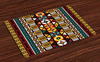 Ambesonne Kente Pattern Place Mats Set of 4, Vertical Borders Inspired by Timeless Cultures Geometrical Design, Washable Fabric Placemats for Dining Room Kitchen Table Decor, Burgundy Yellow