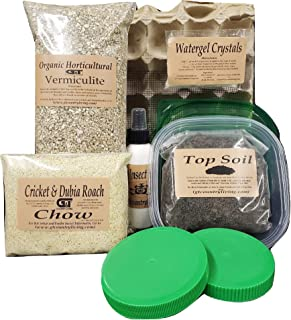 Cricket Colony Starter Kit for Feeder Crickets- 6-Egg Flats, Vermiculite, Top Soil, Screen, 1/2 LB Feed/ Food Sample, 1- P...