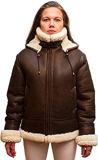 Women Genuine Shearling B-3 Bomber Jacket Winter Sheepskin Moto Coat Natural Fur