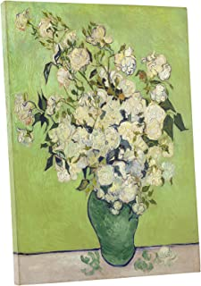 Niwo Art - Pink Roses in a Vase, by Vincent Van Gogh - Oil Painting Reproductions - Giclee Canvas Prints Wall Art for Home Decor, Stretched and Framed Ready to Hang (16 x 20 x 0.75 Inch)