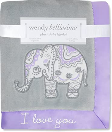 Wendy Bellissimo Super Soft Plush Baby Blanket - Elephant Baby Blanket from The Anya Collection in Lavender and Grey