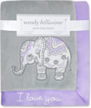 Wendy Bellissimo Super Soft Plush Baby Blanket (30x40) - Elephant Baby Blanket from The Anya Collection in Lavender and Grey