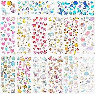 HOWAF 500+ Paillettes 3D Autocollants pour Enfant Filles Artisanat Bricolage Scrapbooking, Époxy Gonflé Gomettes Stickers,...