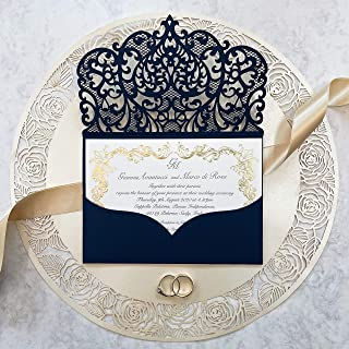 Fai da te apribile taglio laser inviti matrimonio partecipazioni matrimonio blu marino carta con busta - campione prestamp...