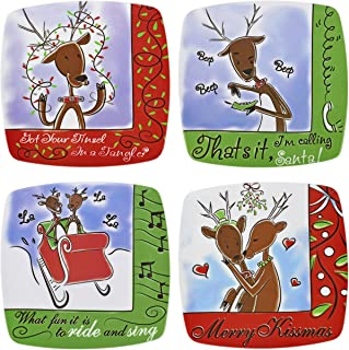 Set of 4 Christmas Holiday Reindeer Square 8-1/2
