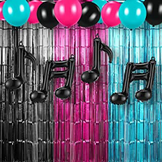 Skylety Music Party Decorations Includes Rose Red Blue Black Tinsel Curtains Music Balloons Music Note Balloons for Music ...