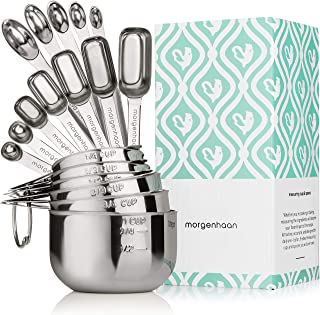 Morgenhaan Stainless Steel Measuring Cups and Spoons, Measuring Set of 18 Pieces: 12 Spoons and 6 Cups