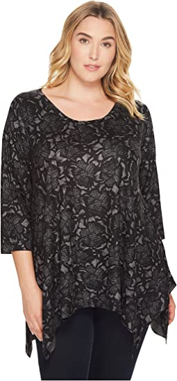 Nally & Millie - Plus Size Printed Floral Sweater Tunic