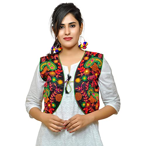 07fd9b594de Banjara Women s India Poly Cotton Embroidered Ethnic Kutch Work Shrug