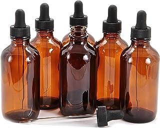 Vivaplex, 6, Amber, 4 oz Glass Bottles, with Glass Eye Droppers