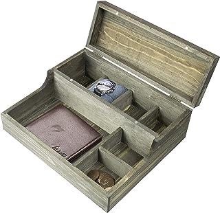 MyGift Rustic Graywashed Wood Watch Case & Valet Storage Box