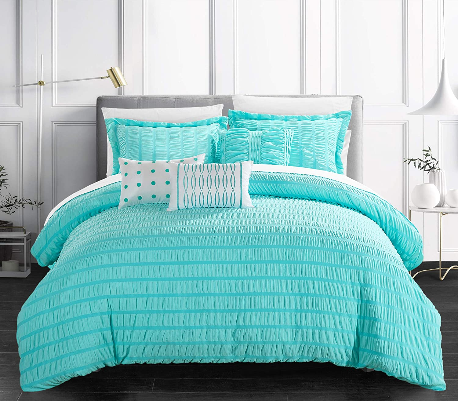Chic Home Hadassah 6 Piece Comforter Striped Ruched Max 47% OFF trust Ruffled Set