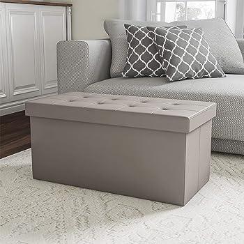 "Lavish Home Gray Folding Storage Bench Ottoman–30"" Faux Leather"