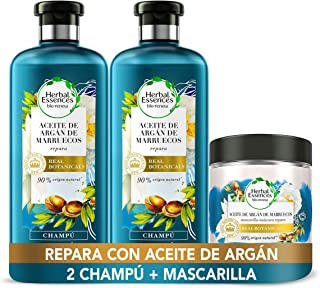 Herbal Essences bio:renew Aceite de Argán de Marruecos Champú Reparación 2 x 400 ml + Mascarilla Reparación 250 ml con P...