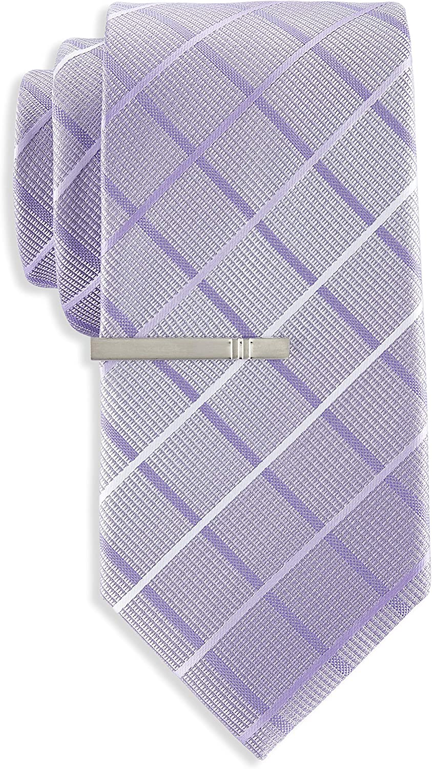 Gold Series by DXL Big and Tall Large Ombré Plaid Tie with Tie Bar
