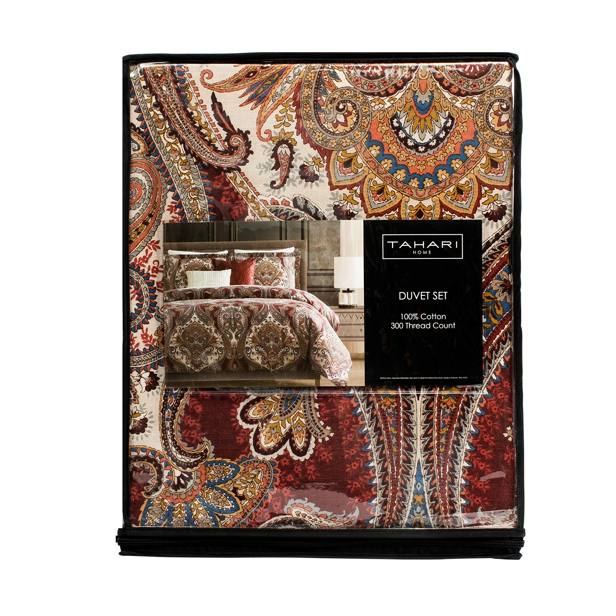 Tahari Home 300 Thread Count Cotton Boho Style Moroccan Paisley Medallion Duvet Cover with 2 Pillow Shams Queen