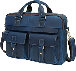 WILD WORLD Mens Vintage Full Grain Leather Briefcases Fit 15.6 Inch Laptop Computer, Messenger Bag for Work and Business (...