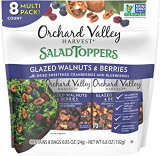ORCHARD VALLEY HARVEST Salad Toppers, Glazed Walnuts & Berries, 0.85 oz (Pack of 8), Non-GMO, No Artificial Ingredients