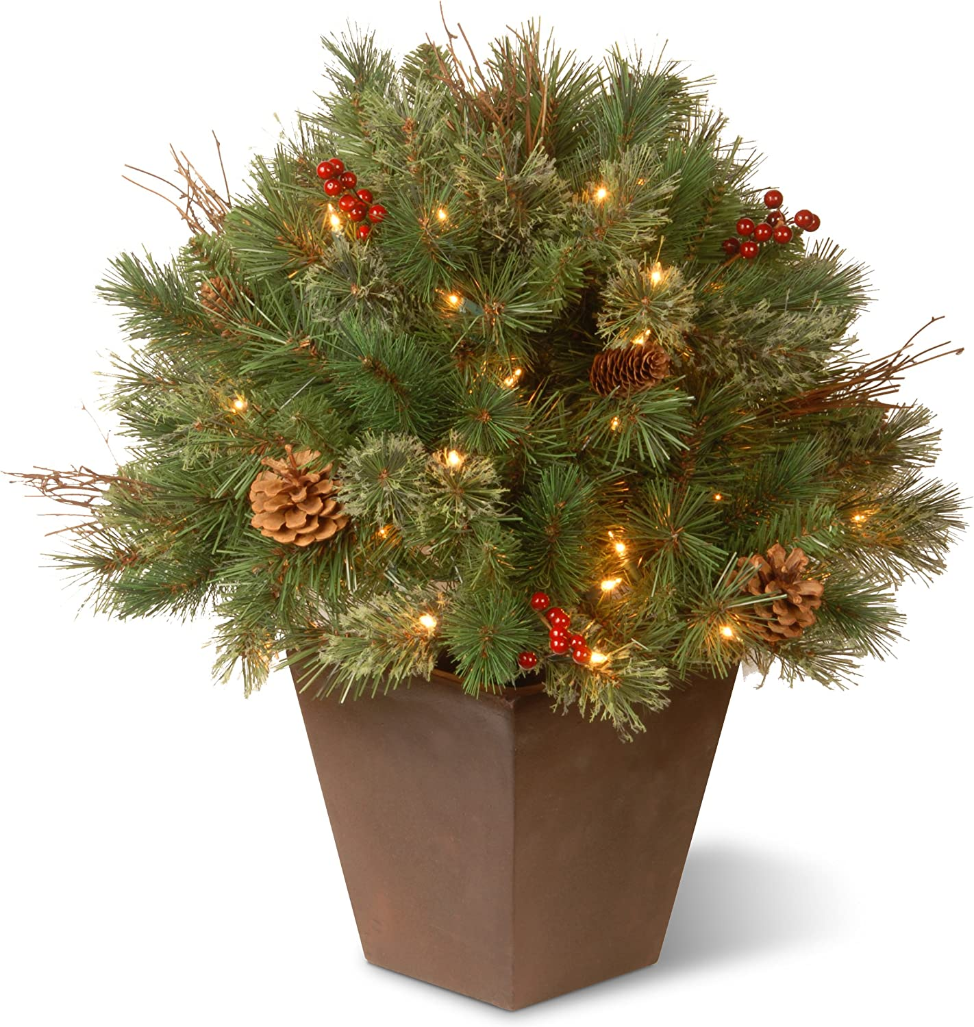 National Tree Company Artificial Floc It is very popular Decorative Pot Deluxe Christmas