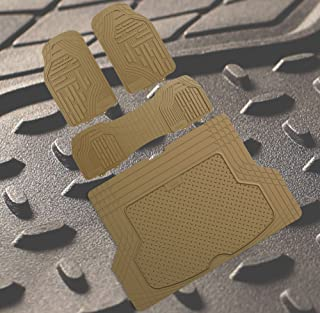 FH Group FH-F11322 Supreme Rubber Trimmable Heavy Duty Floor Mats with F16406 Premium Rubber Trimmable for Custom Fit Trunk Liner/Cargo Mat Solid Tan