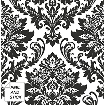 Nextwall Black Damask Peel And Stick Wallpaper Amazon Com