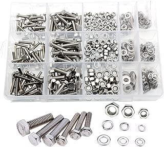 VAPKER 550 Pcs M4 M5 M6 Flat Hex Head Stainless Steel Screw Bolts Nuts Lock and Flat Gasket Washers Screws Assortment Kit