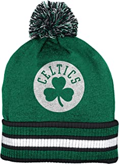 9566824a186 Boston Celtics Double Sided Striped Cuff Pom Knit Beanie Hat   Cap
