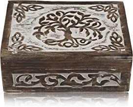 Great Birthday Gift Ideas Handmade Decorative Tree of Life Wooden Jewelry Box Treasure Box Jewelry Organizer Keepsake Box Treasure Chest Trinket Holder Lock Box Watch Box 8 x 6 Inch Gifts for her