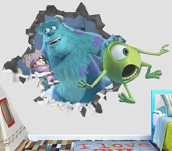 Monster Inc Mike Wazowski James P Wall Decal Smashed 3D Sticker Vinyl Decor Mural Movie Kids Broken Wall 3D Designs OP411 Small Wide 22 X 16 Height