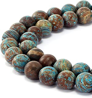 BRCbeads Gorgeous Natural Crazy Blue Lace Aagte Gemstone Smooth Matte Round Loose Beads 10mm Approxi 15.5 inch 35pcs 1 Strand per Bag for Jewelry Making