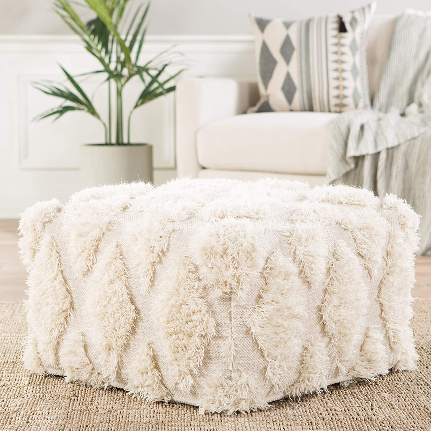 Unknown1 Ivory Geometric Seasonal Wrap Introduction Square Bohemian In a popularity Textured Eclectic Pouf