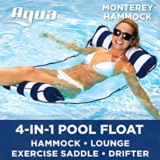 Aqua Monterey 4-in-1 Multi-Purpose Inflatable Hammock (Saddle, Lounge Chair, Hammock, Drifter) Portable Pool Float, Navy/White Stripe